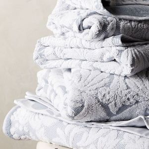 Anthropologie (2) Mae Light Gray Hand Towels